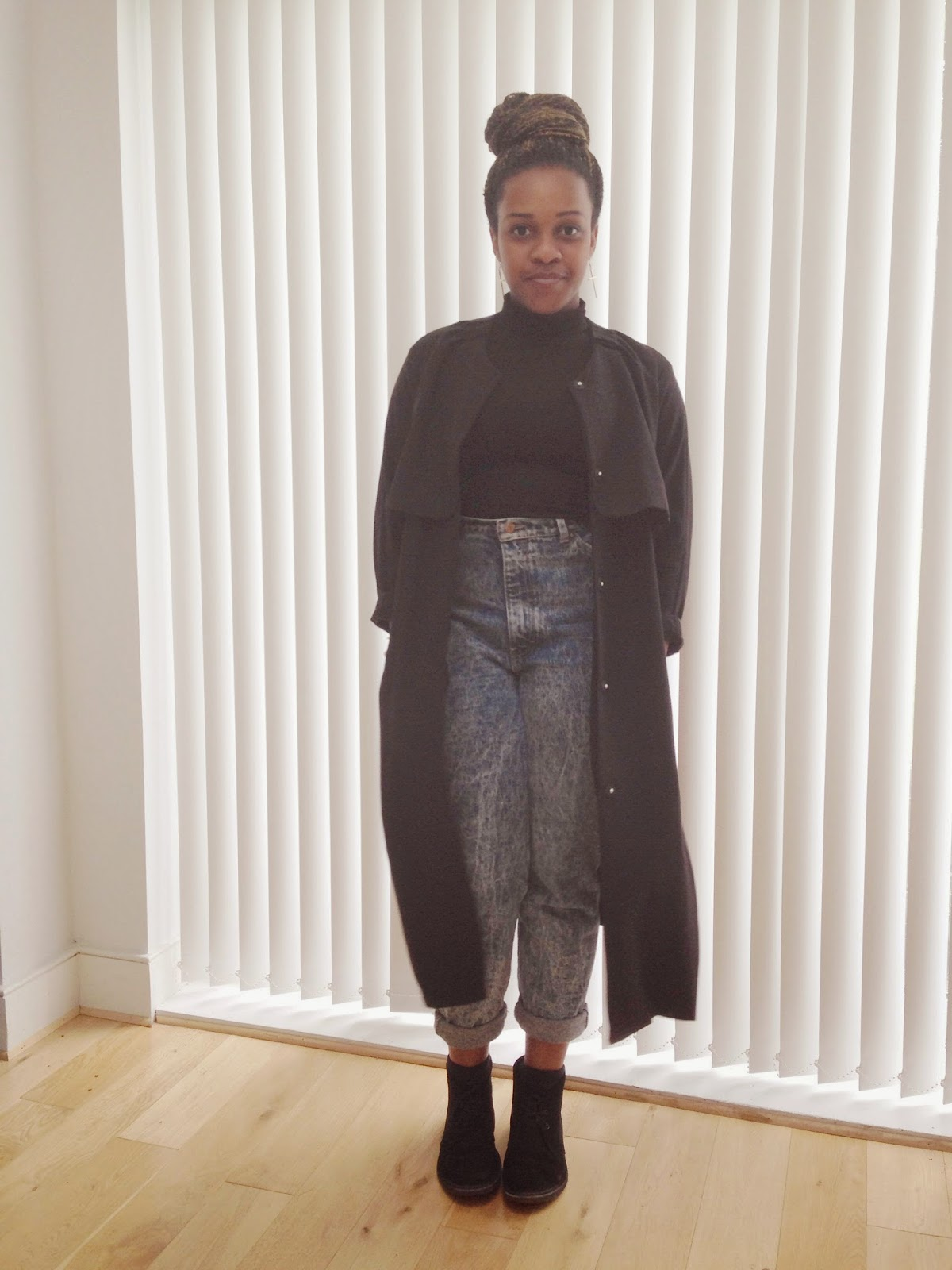 HM Black Duster Coat ASOS Black Crop Polo Neck High Waisted Jeans Clarks Desert Boots