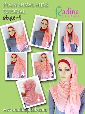 Cara Memakai Plain Shawl Polos (Hijab Kaos)