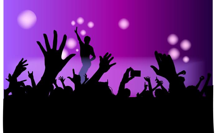 Free Vector がらくた素材庫: ディスコで踊る群衆 Vector Disco Crowd