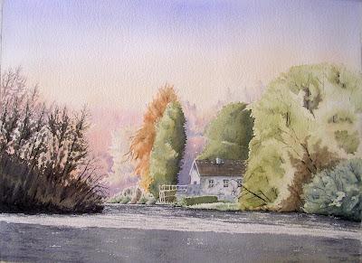 aquarelle-maison-au-bord-de l'étang