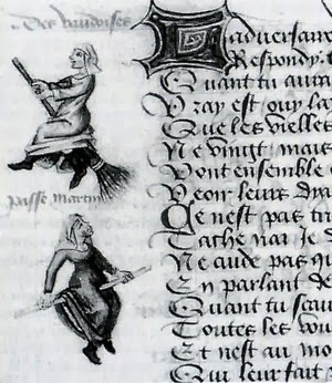 """document of around 1461"", aincent transcript with illustration of flying witches, witches on broomsticks, ink illustration, manuscript"