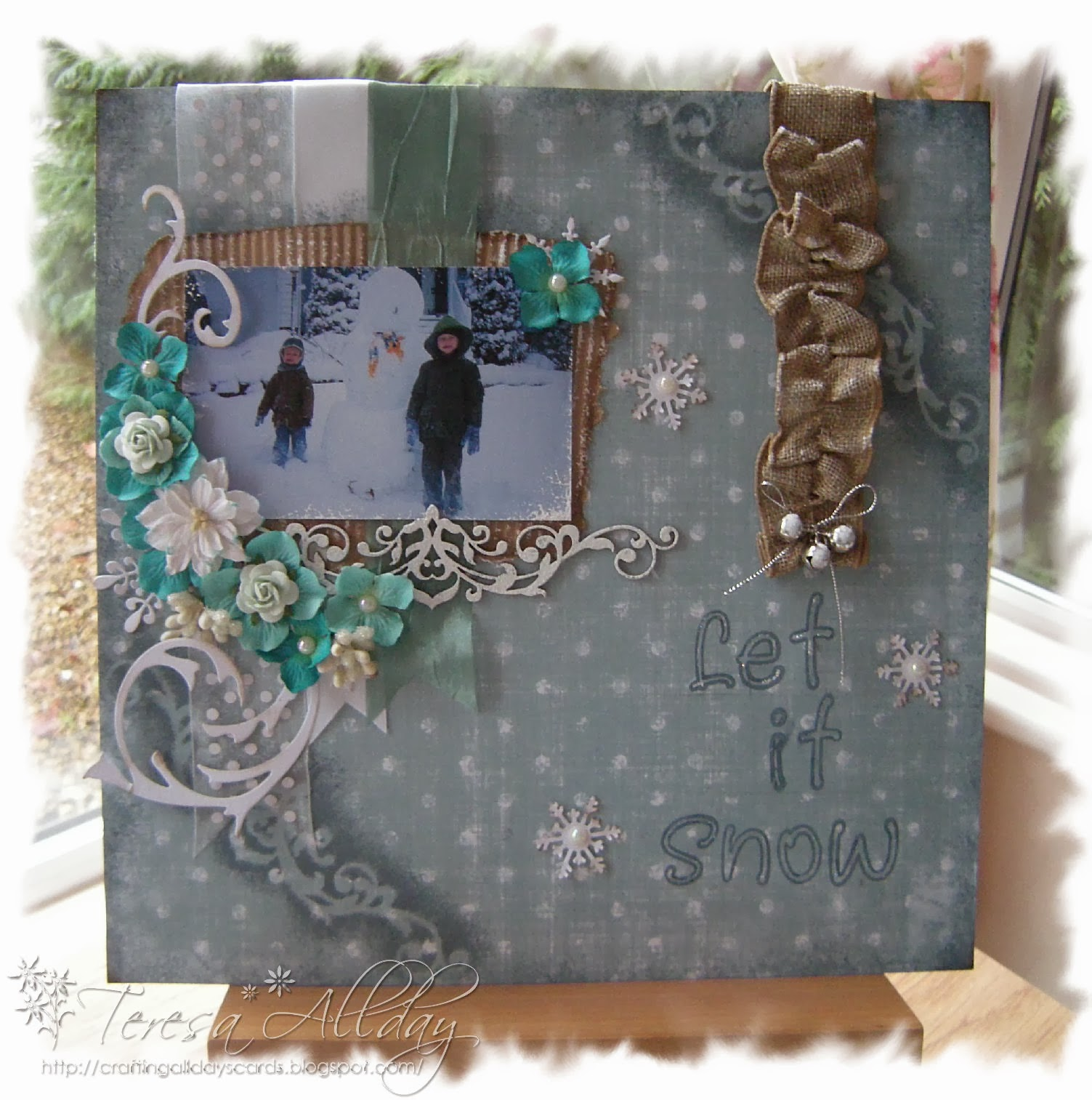 I won at Blue Fern Studios with this scrapbook page