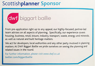 The DWF Biggart Baillie Advert from the Scottish Planner