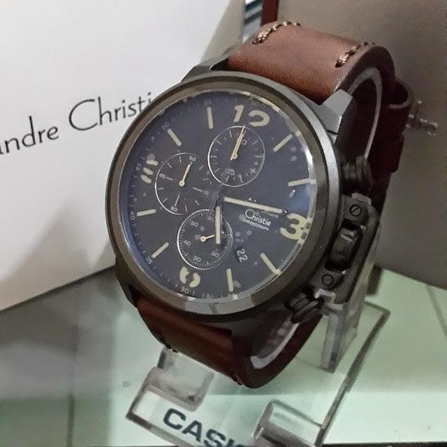 jam tangan alexandre christie 6280 coklat tua