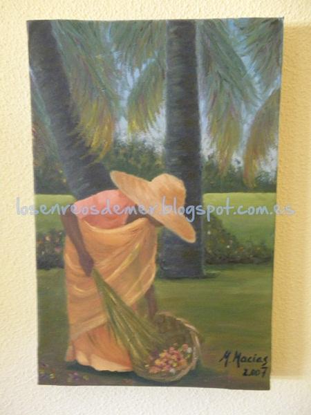 Mujer recogiendo flores - Óleo sobre lienzo