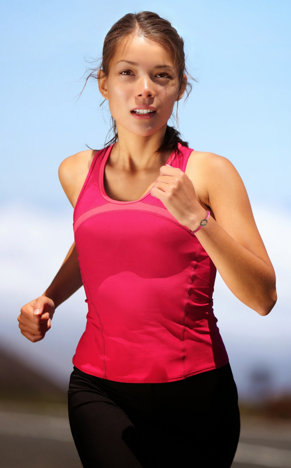 Runner Wearing Breast Cancer Awareness Bracelet
