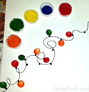 fingerprint christmas lights craft for kids