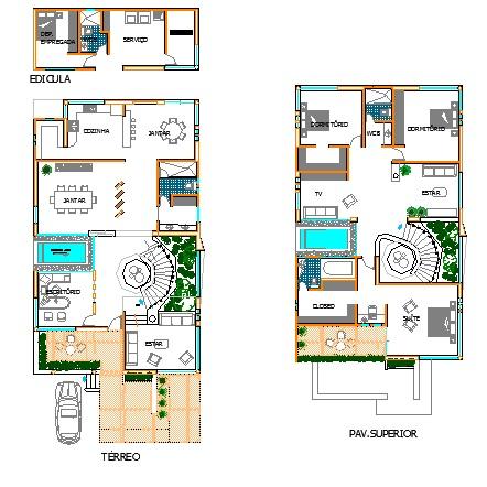 Descargar planos en autocad dwg plano de sobrado n 4 en dwg - Cad casa gratis ...