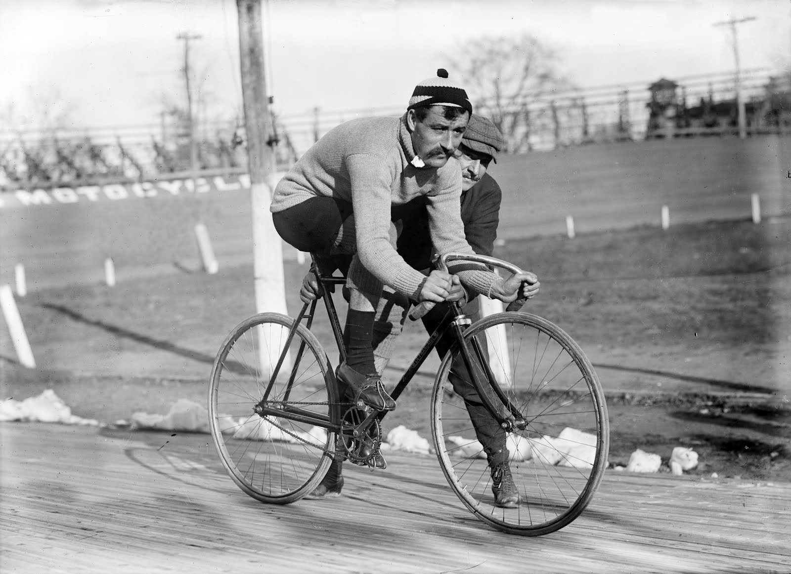 Cyclist Léon Georget on Bicycle (Track Bike)