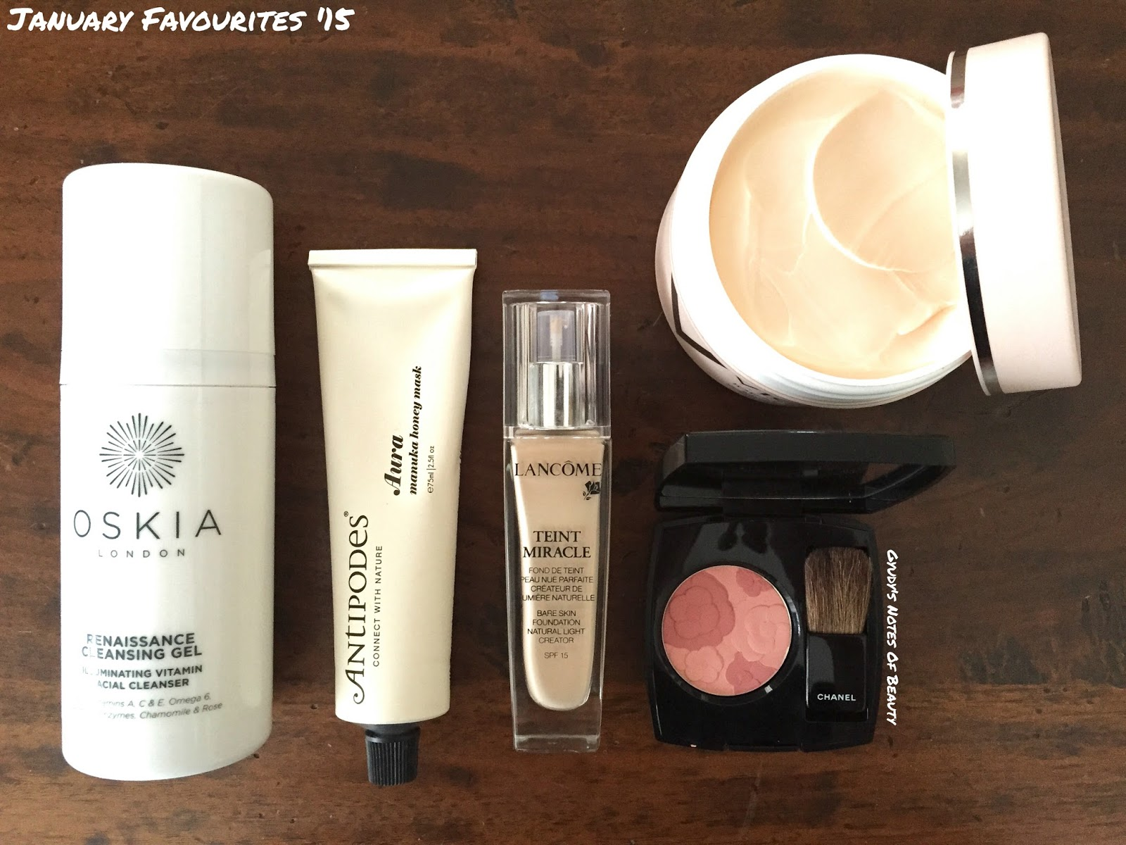 Chanel Jardin Camelia Blush Aura Manuka Mas Antipodes Lancome Teint Miracle Foundation Vichy Ideal Body Oskia Renaissance Cleansing Gel