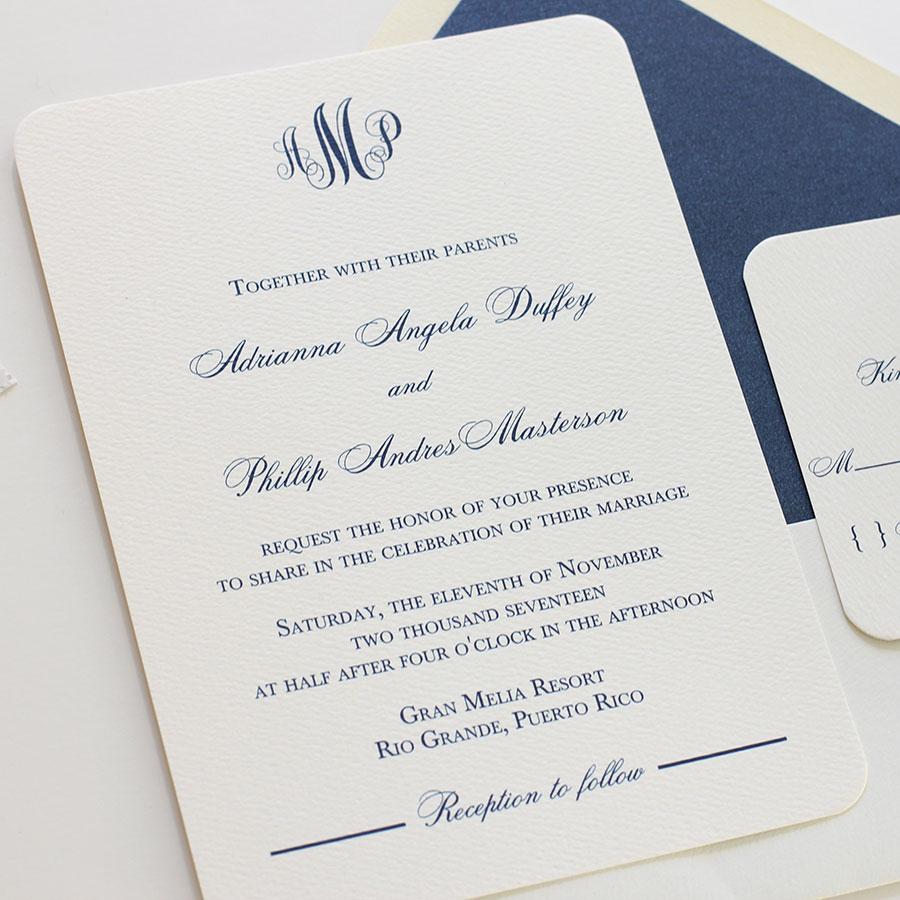 Elegant Monogram Wedding Invitation Blush Paperie