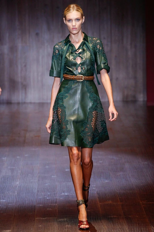 Gucci 2015 SS Dark Green Leather Lace Dress on Runway