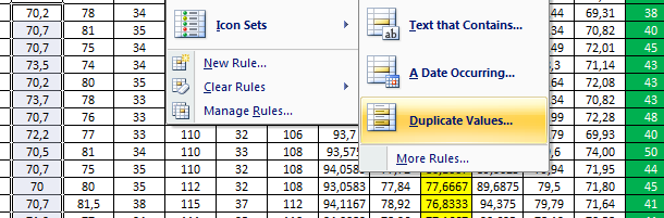Mark duplicate values
