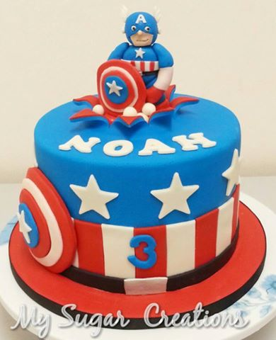 My Sugar Creations 001943746M 3D Captain America Cake Noah