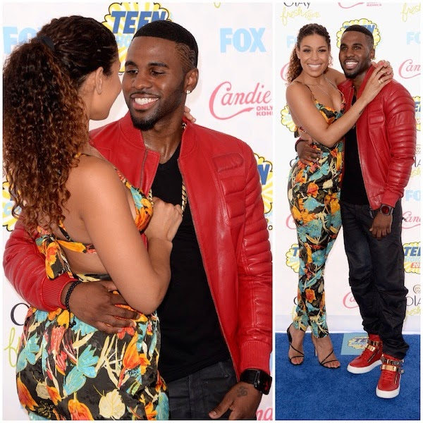 Jordin Sparks and Jason Derulo with Bell and Ross red radar watch and Giuseppe Zanotti red leather sneakers at FOX 2014 Teen Choice Awards