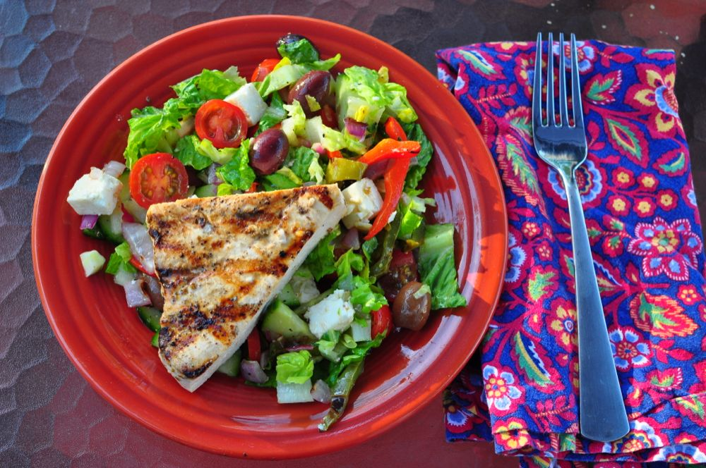 Grilled Swordfish With Greek Salad - Dad Cooks Dinner