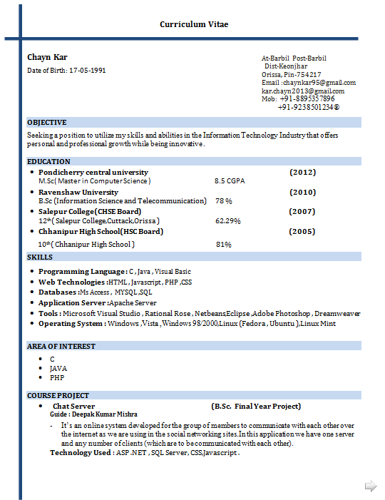 Sample Resume For Masters In Computer Science For Fresher