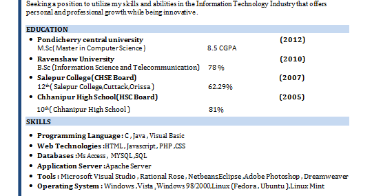 M Sc Computer Science Model Resume