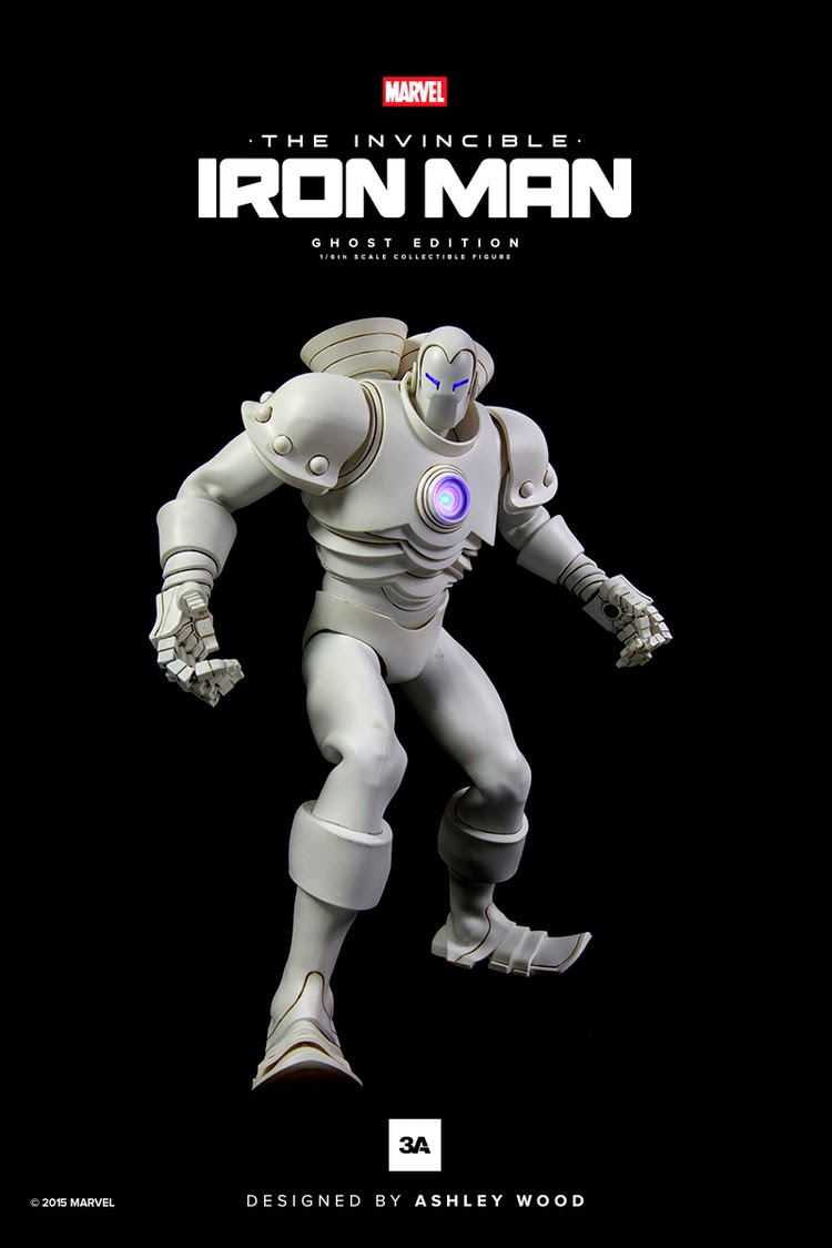 """Ghost"" Invincible Iron Man Marvel x ThreeA 1/6 Action Figure"
