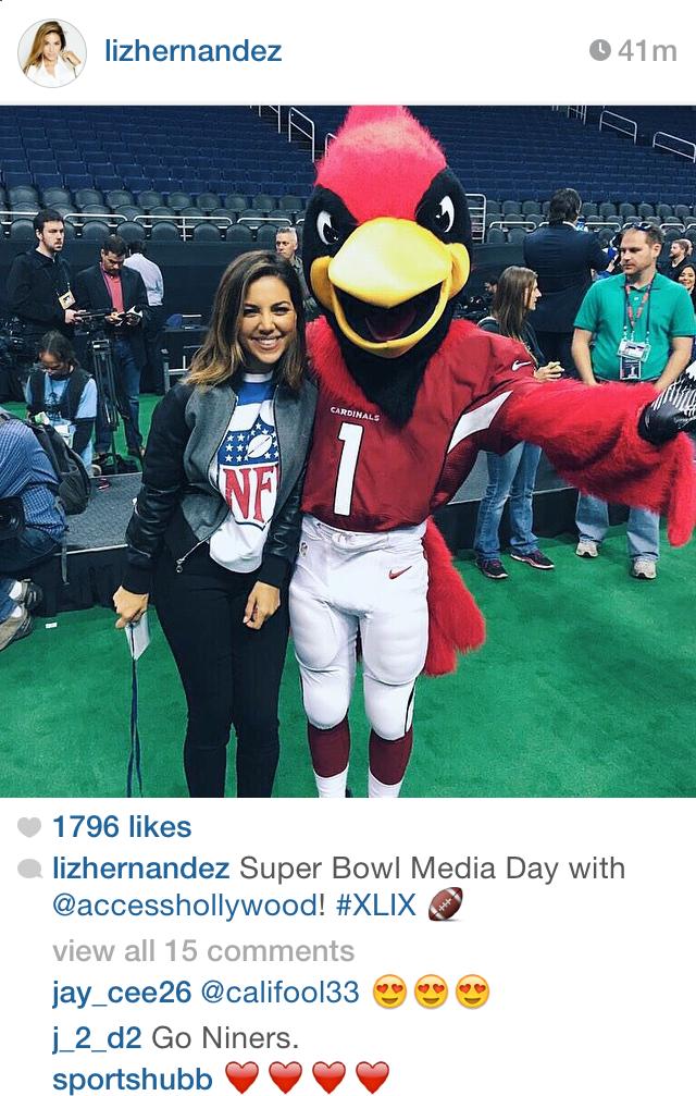 Liz Hernandez in NFL Sweatshirt