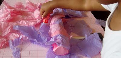 tissue paper gluing
