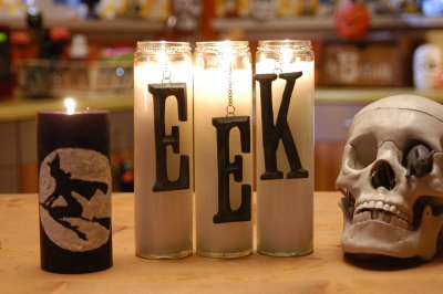 Spooky Dollar Store Candles by Cathie and Steve