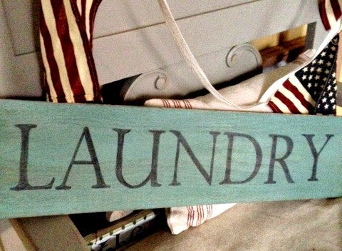 Rustic Wooden Laundry Sign by Homeroad via http://www.prodigalpieces.com
