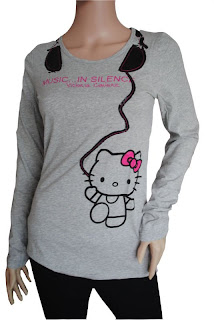 Cute Hello Kitty gray headphones t-shirt