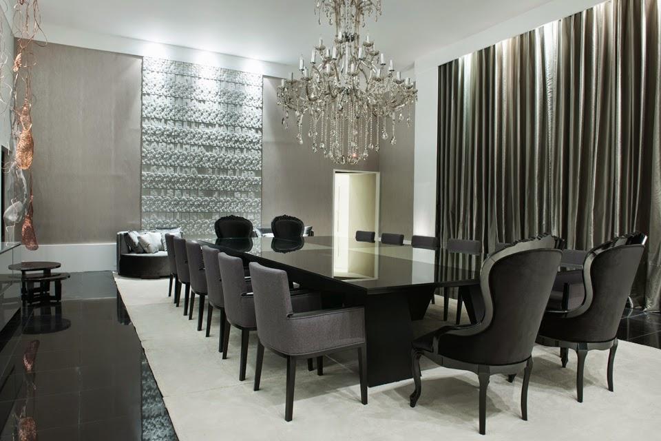 Sala De Jantar Preto E Amarelo ~ Sala de jantar com cadeiras e mesa contemporânea na cor cinza e preto