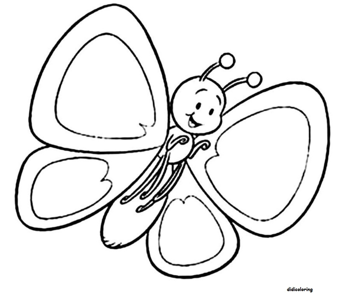 Printable Cute Butterfly With Big Wings For Coloring Dania Rehman Kids Pages