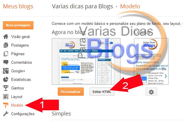 Editar HTML do Blog