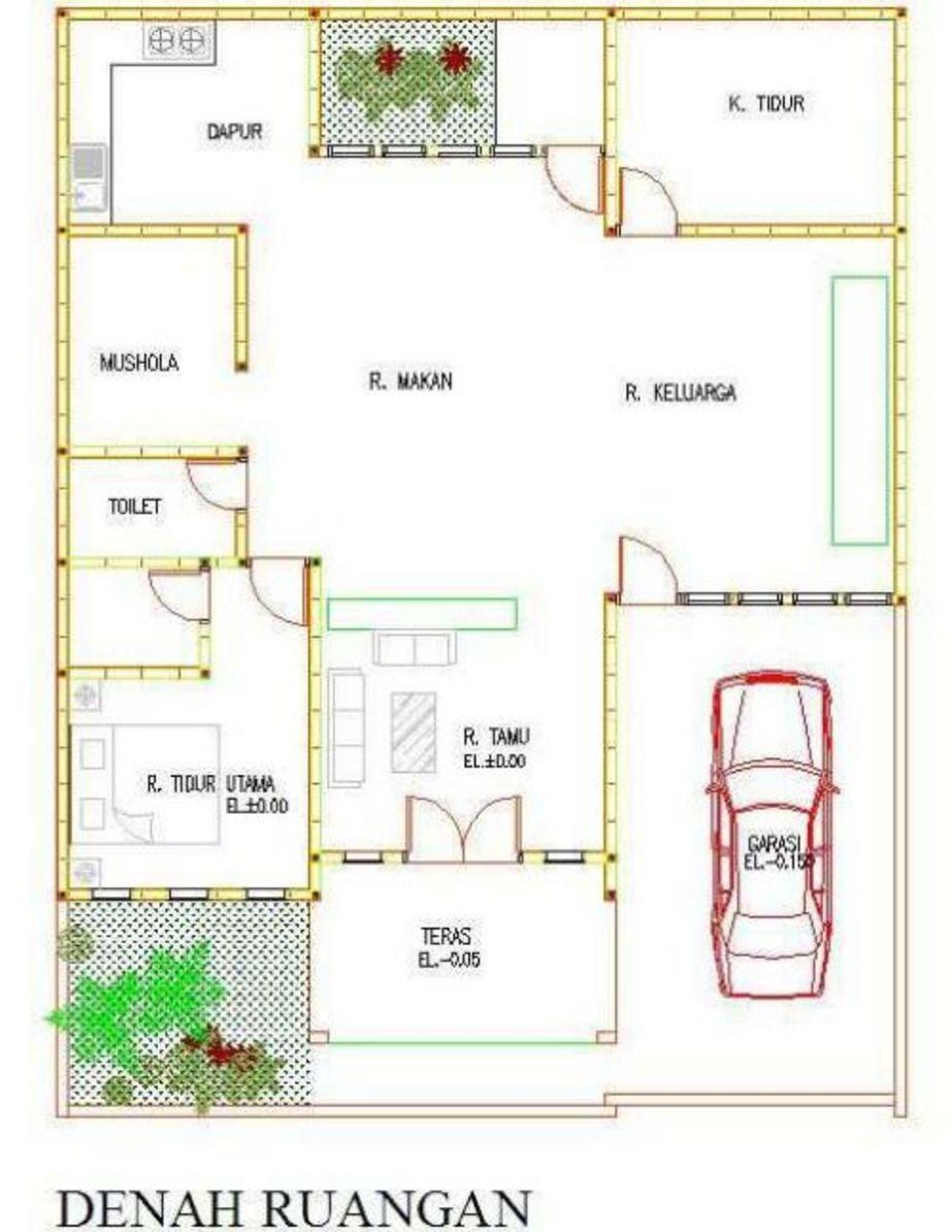 contoh denah rumah sederhana yang menarik