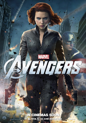 Scarlett Johanssen as Black Widow in The Avengers movie poster