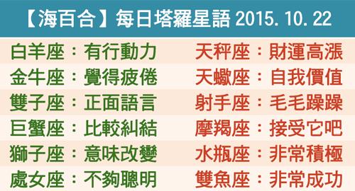 【海百合】每日塔羅星語2015.10.22