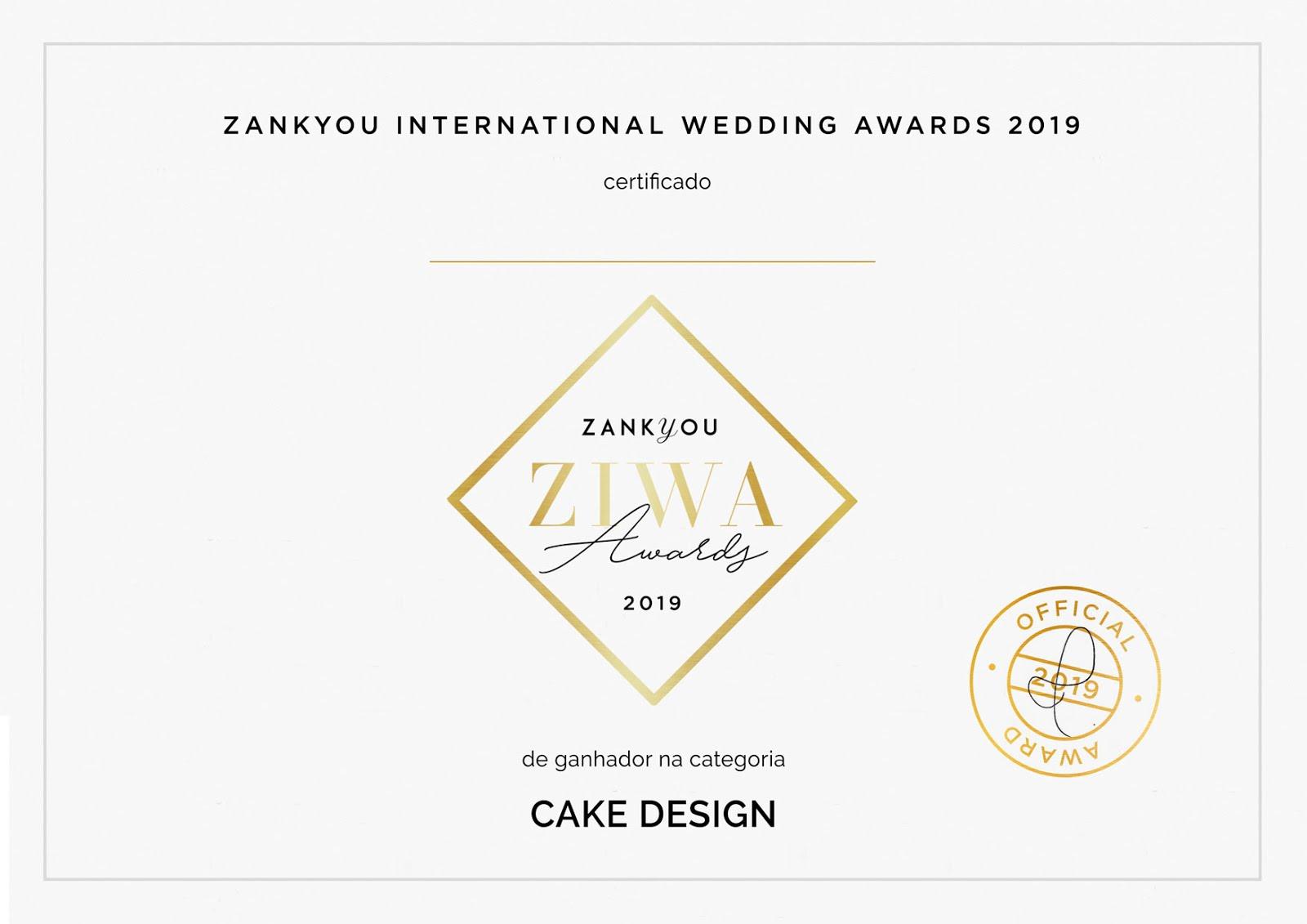 Ganhamos o Prémio ZIWA 2019 como um dos melhores profissionais de casamentos de Portugal.