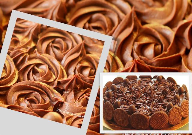 """Tarta de crema con rosas de chocolate. Reto """"One for all"""""""