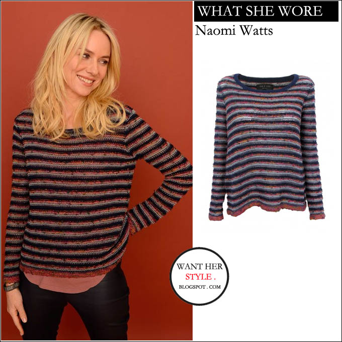 What She Wore Naomi Watts In Stripe Knit Slouchy Long Sleeve Sweater At Sundance Film Festival