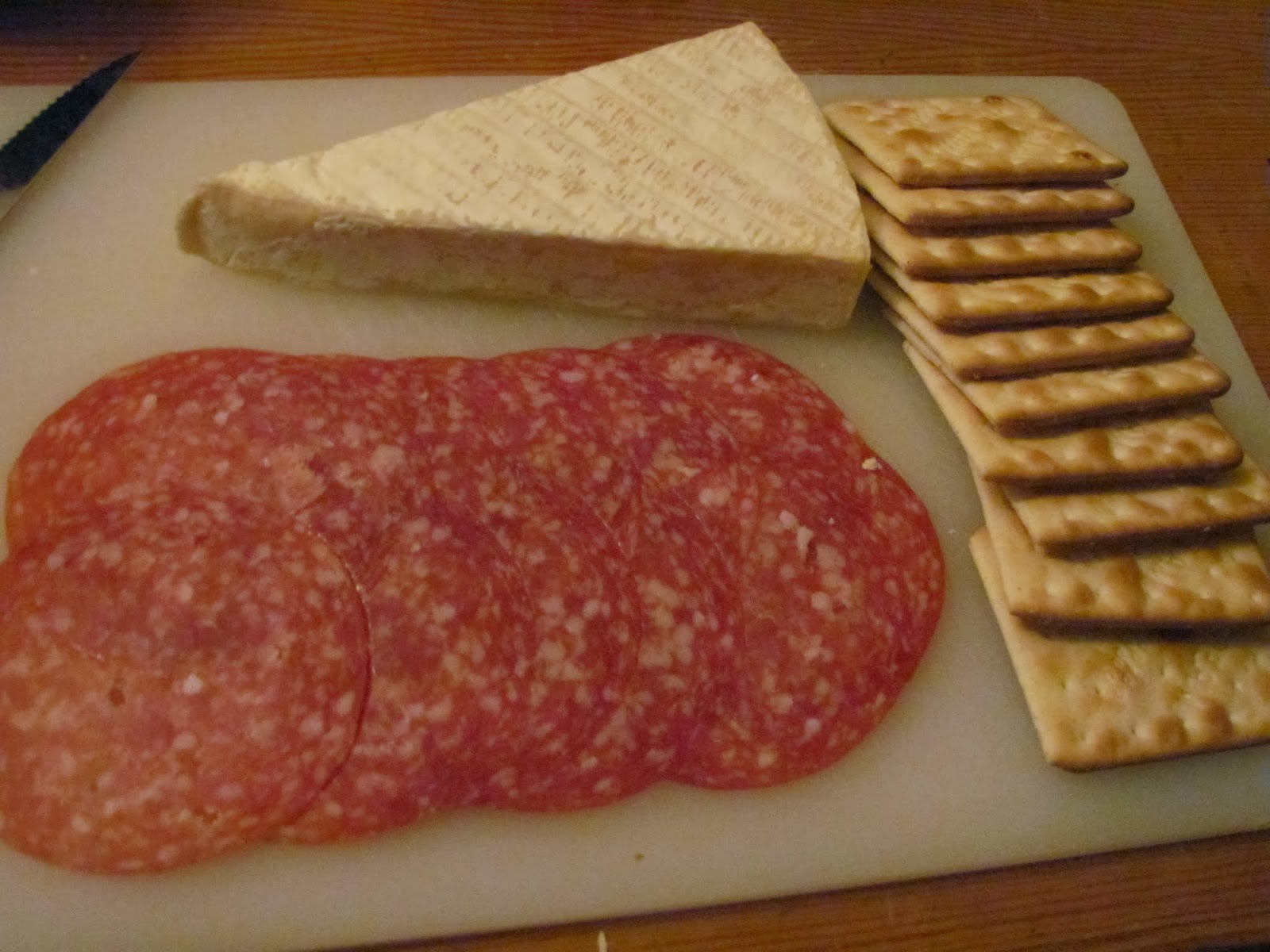 Salami, Brie, and Crackers for Mid-Evening Snack