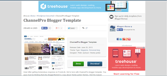 Channel Pro Blogger Template