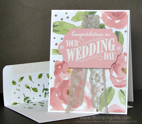 Simple, elegant, heat embossed and die-cut wedding card.