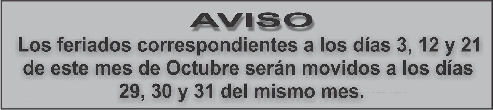 AVISO FERIADOS
