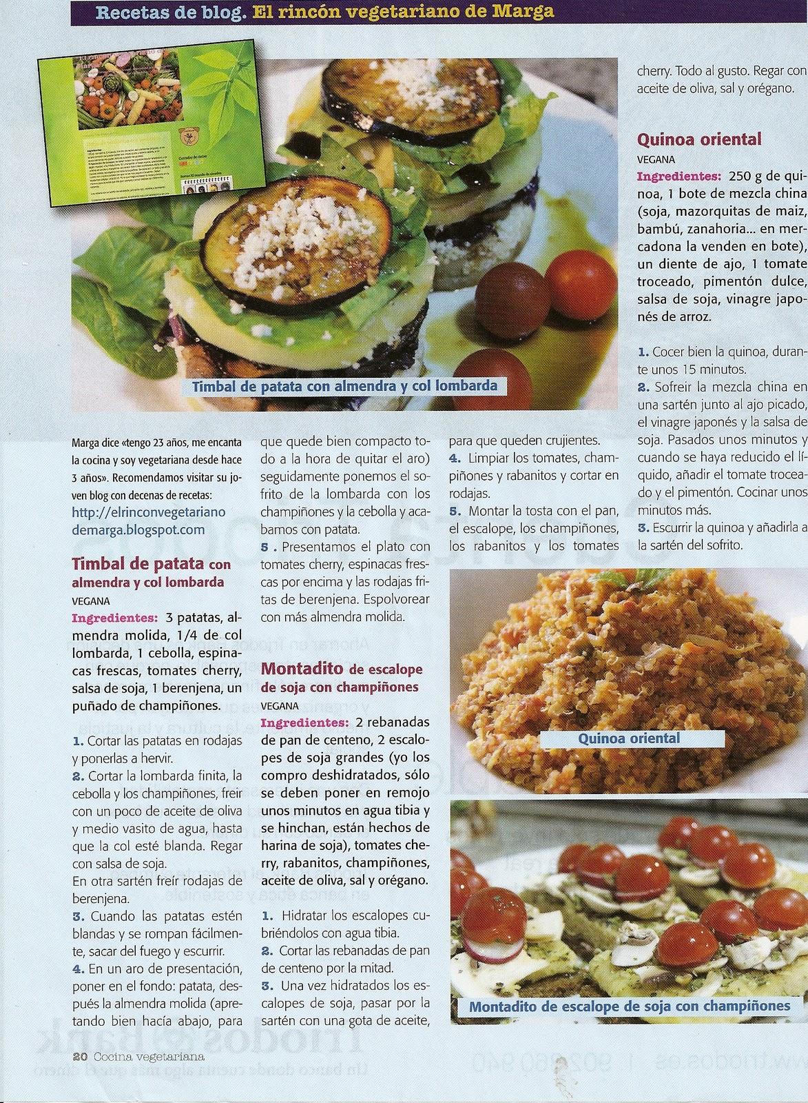 Publicaci n de mi blog en revista 39 cocina vegetariana for Blogs cocina vegetariana