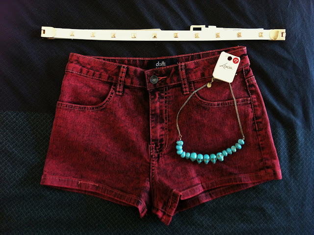 clothing, haul, forever new, belt, gold studs, dotti, grunge shorts, lovisa, turqoise skull, necklace, savings