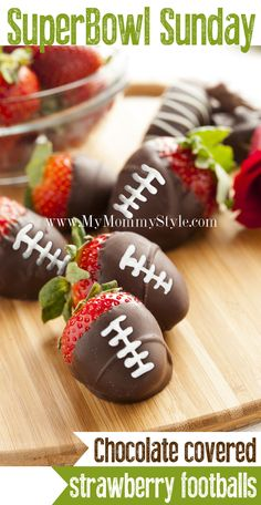 Super Bowl Snacks, Chocolate Covered Strawberry Footballs