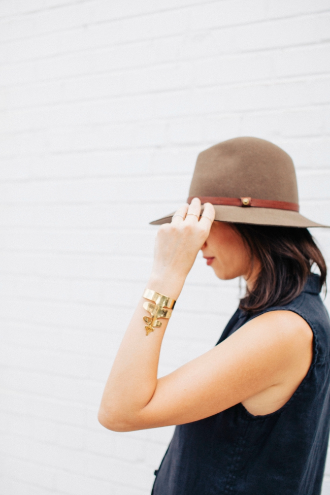 gold bracelet, rag & bone hat