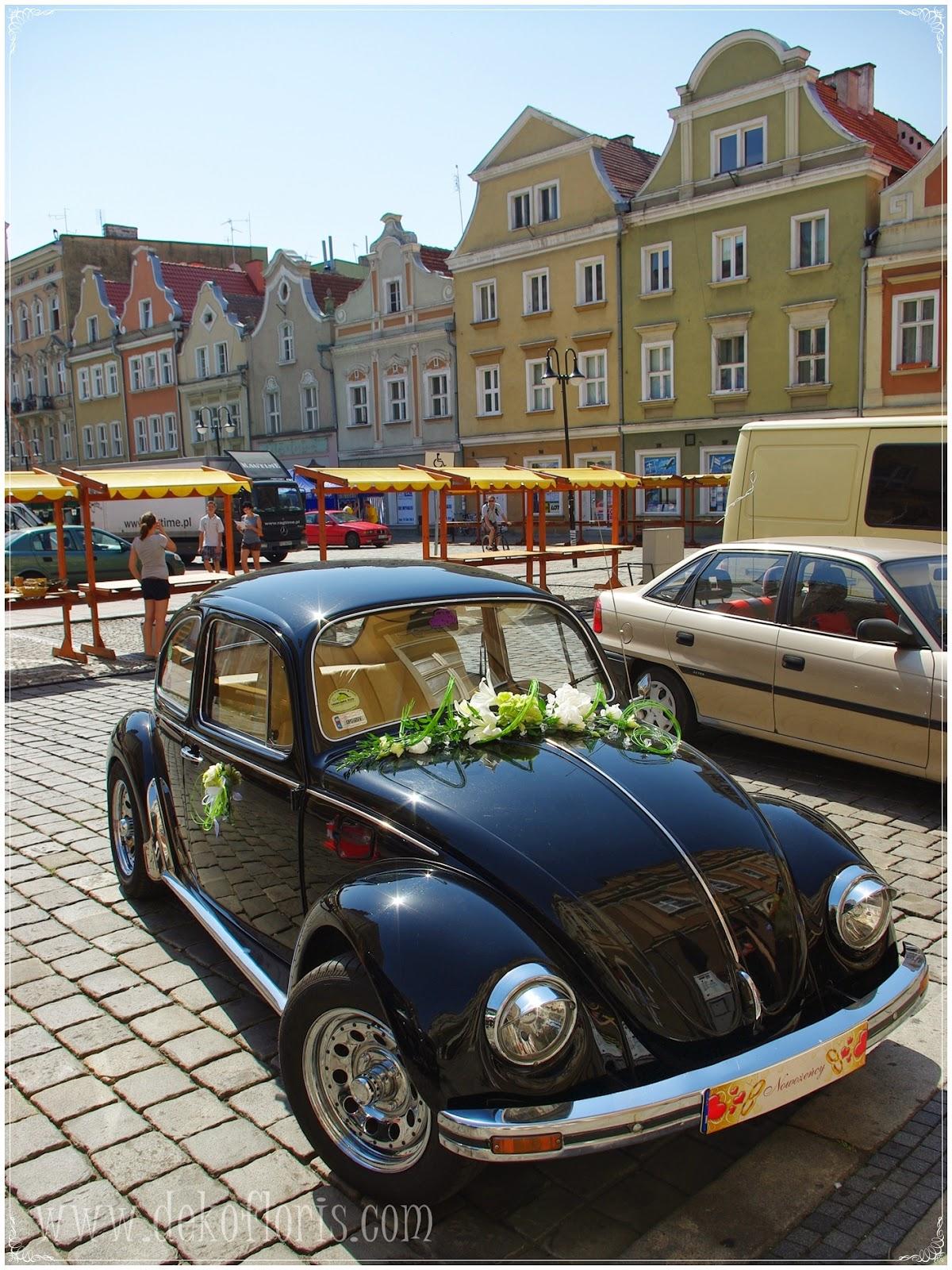 ślub wesele dekoracja auta Opole, strojenie samochodu ślubnego opolskie