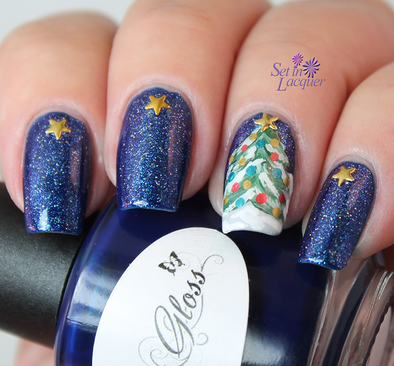 Christmas tree on a starry night nail art