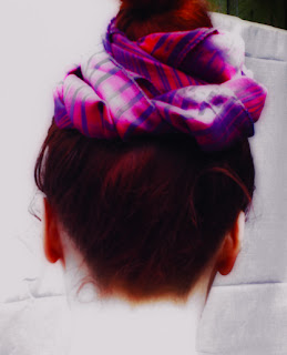 Pink and red headscarf