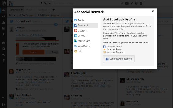 Set up Facebook streams in Hootsuite screenshot.
