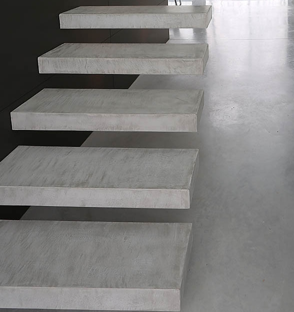 marches en beton cir concrete steps floating stair. Black Bedroom Furniture Sets. Home Design Ideas